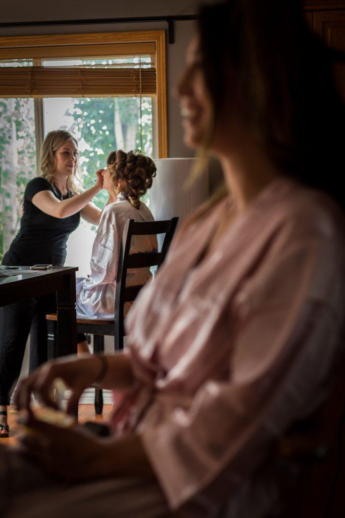 Bridesmaids getting makeup done
