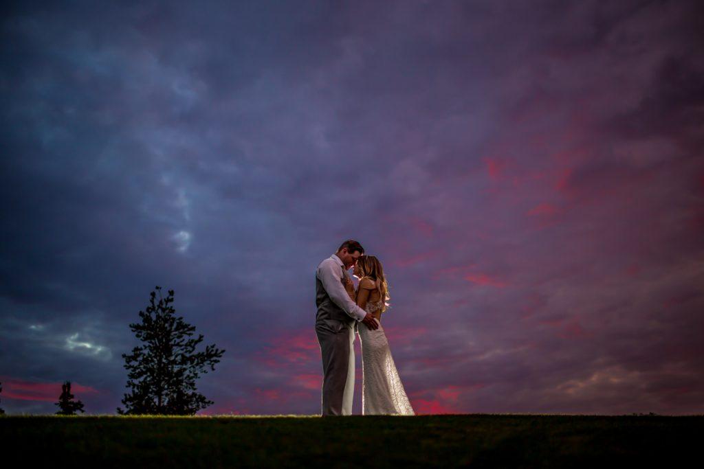 wedding portraits at night