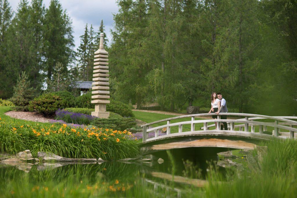japanese garden bridge engagement photos