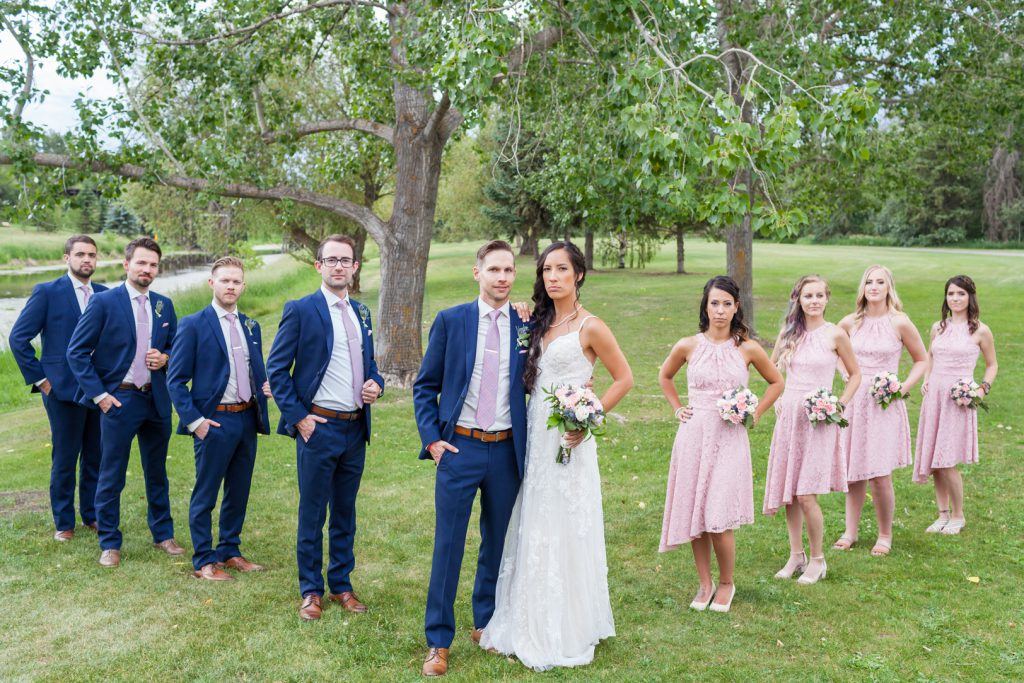 formal wedding party portraits