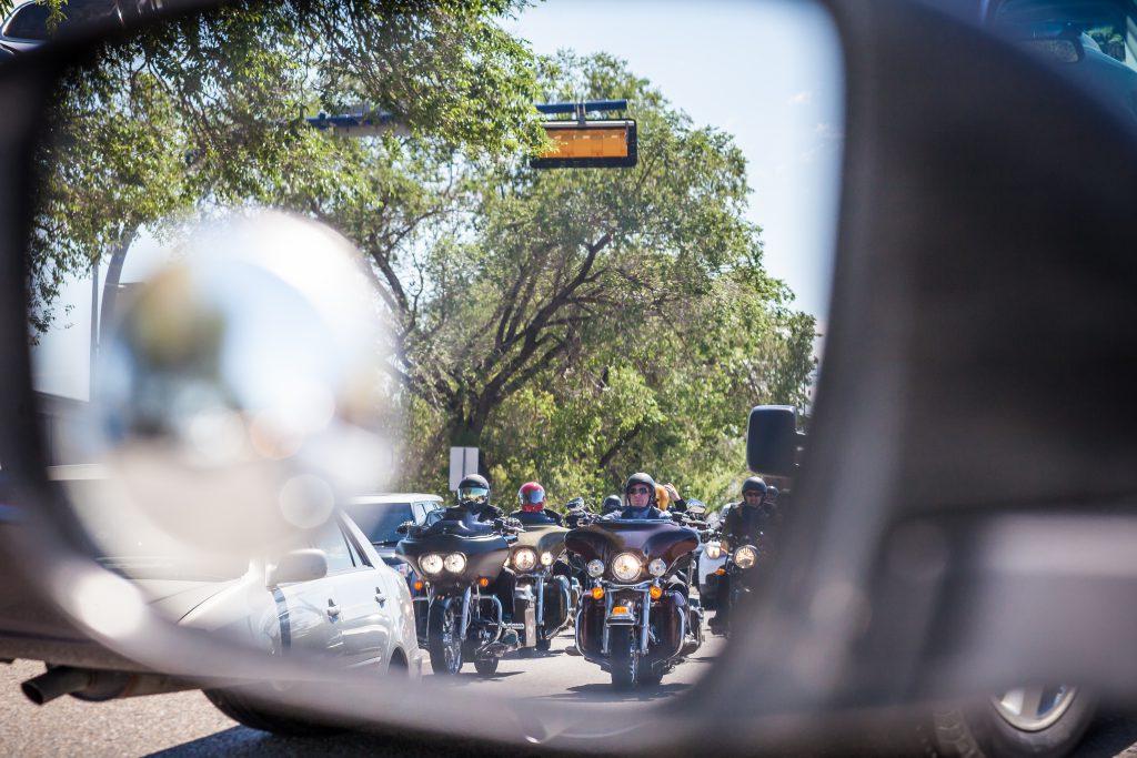 Groomsmen on motorcycles