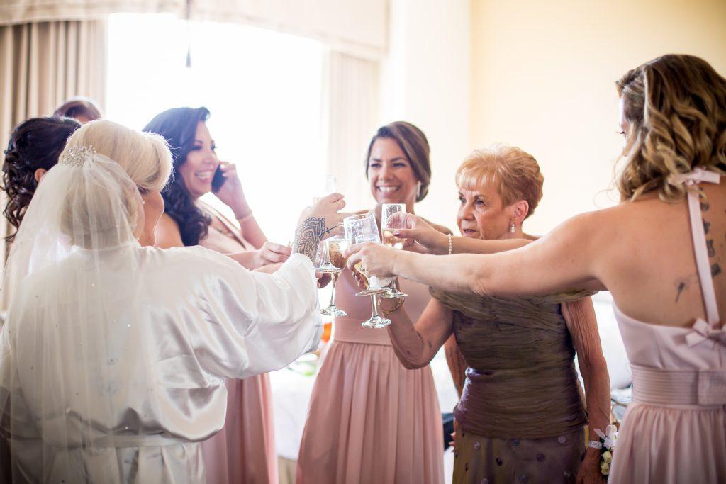 Bride and bridesmaids getting ready at hotel MacDonald