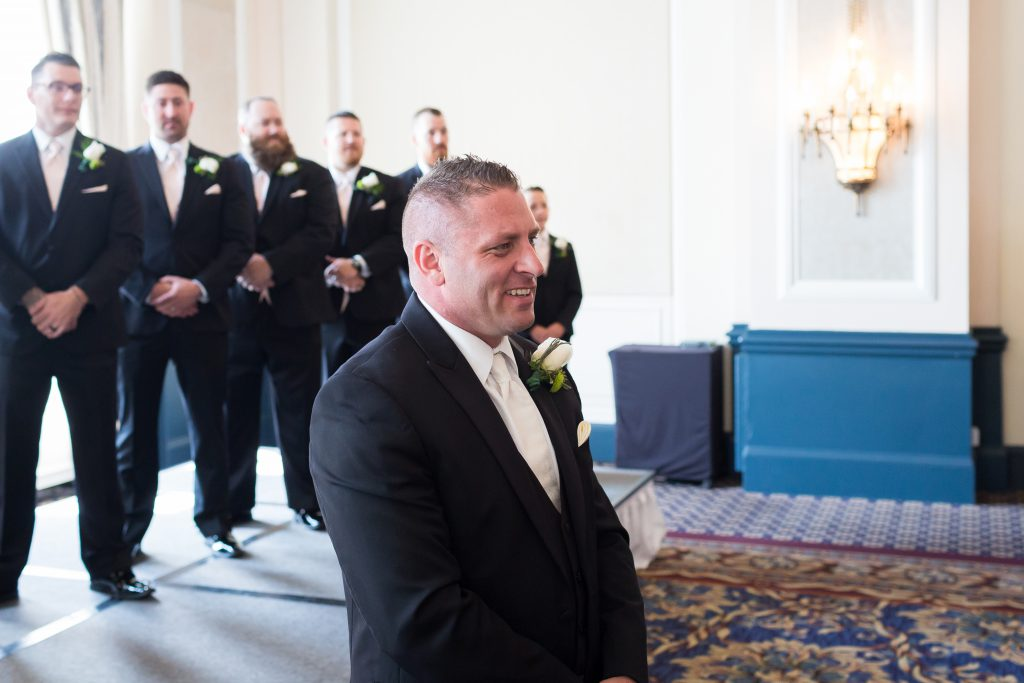 Grooms first look at his bride
