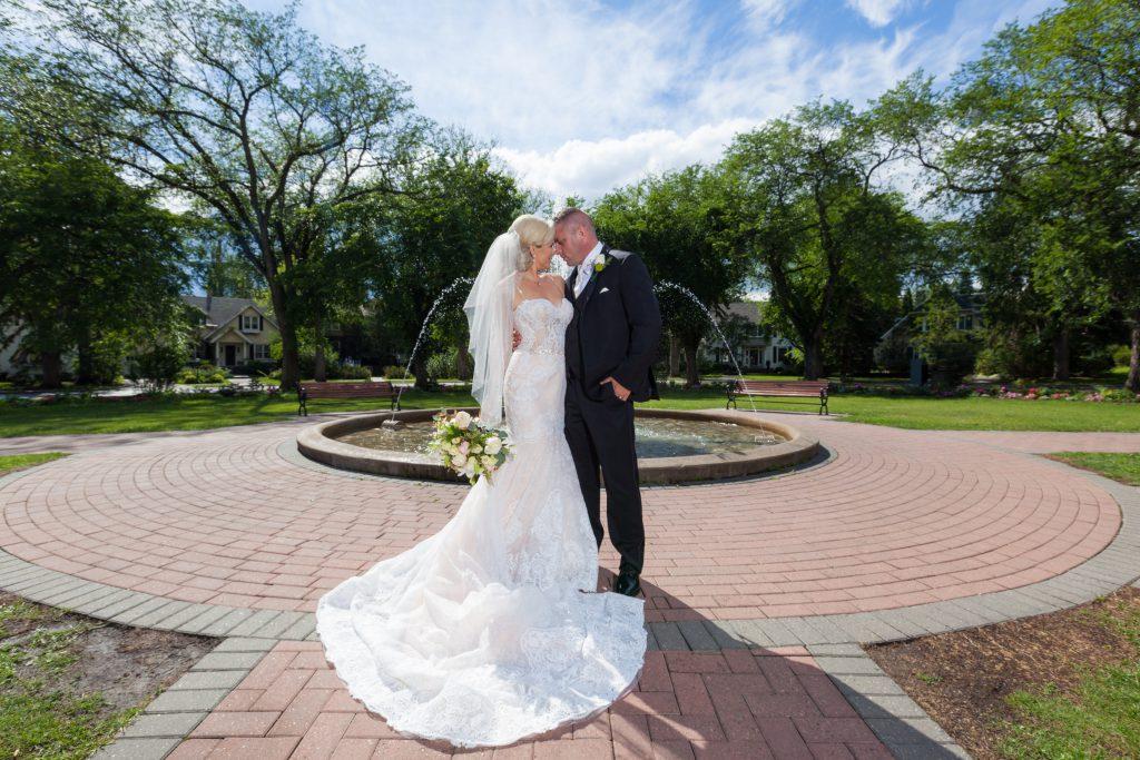 Alexander Circle Fountain Edmonton wedding photos