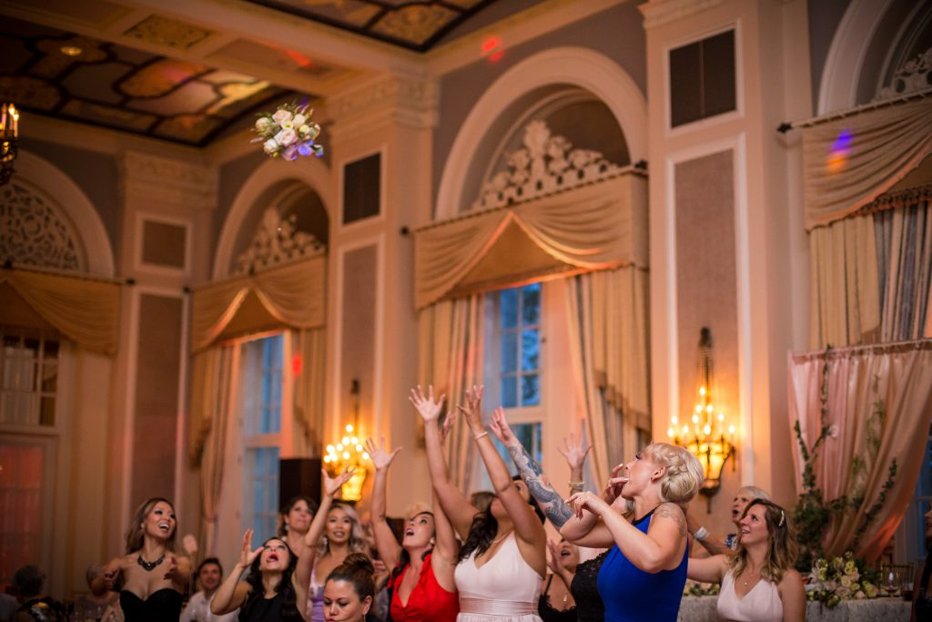 Ladies jumping for the bouquet