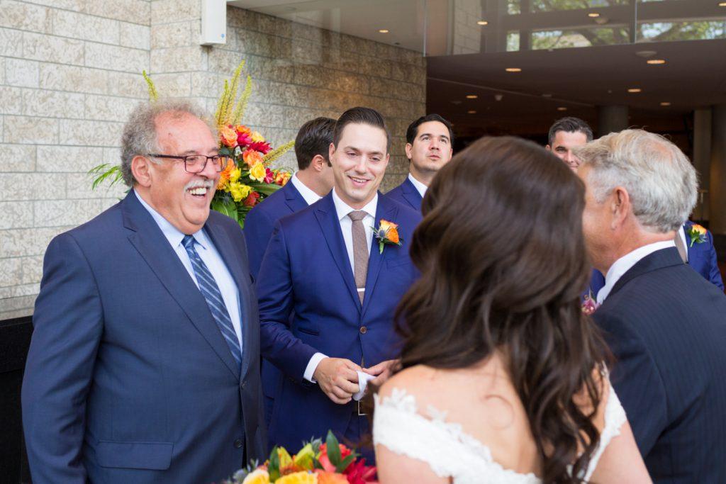 Bride and groom meeting
