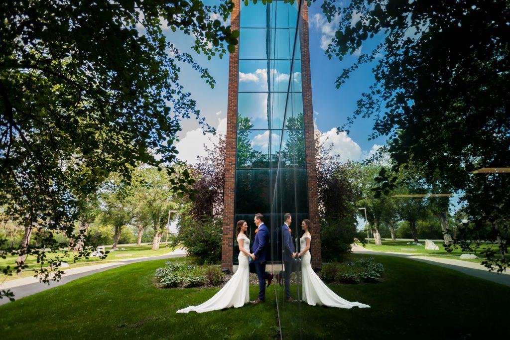 Reflection wedding photo