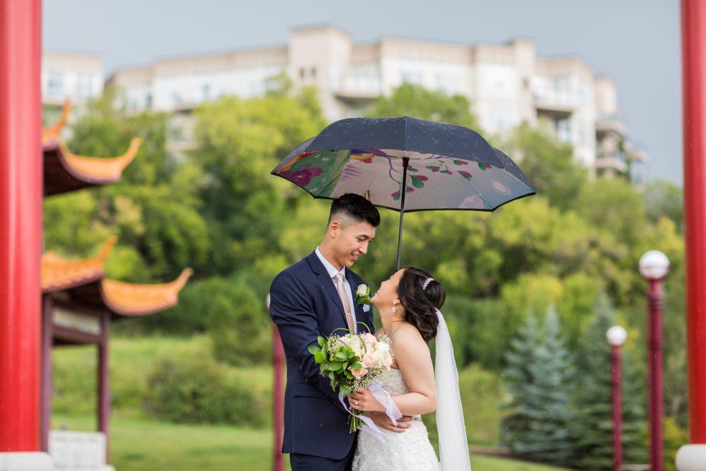 rainy wedding photos in edmonton