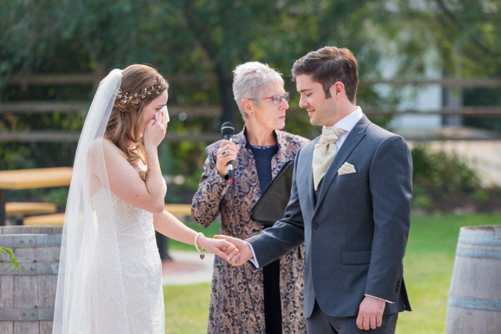 Wedding ceremony at Leduc Stone Barn