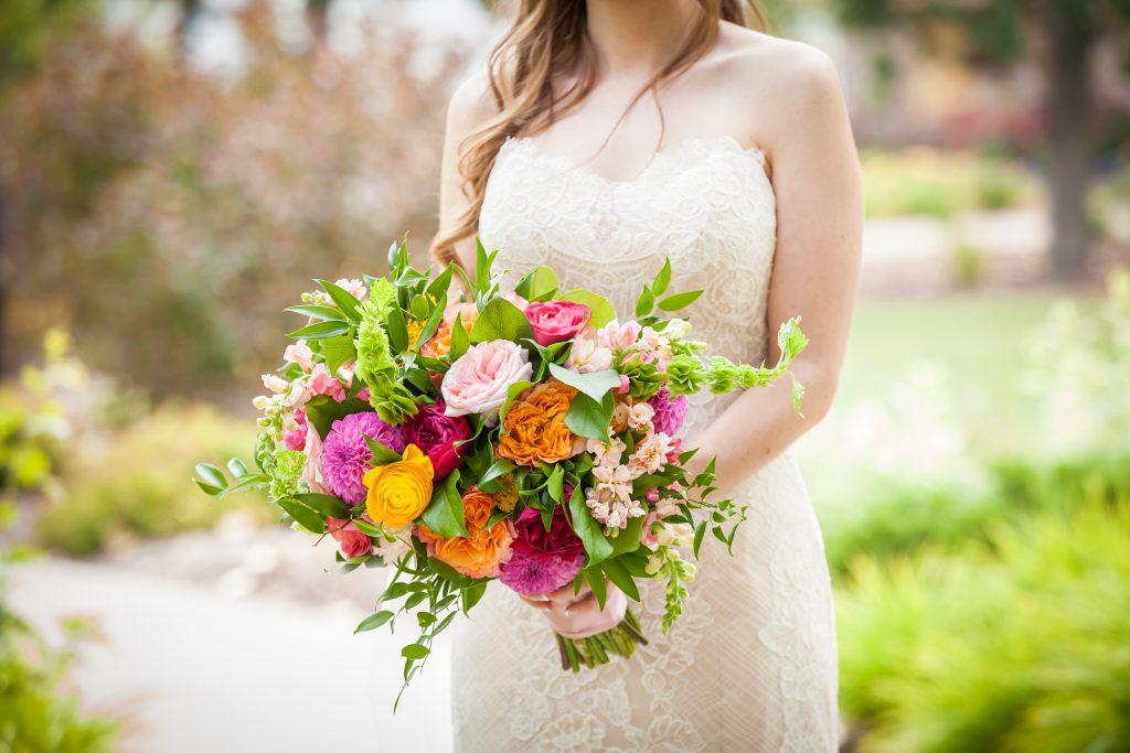 colourful wedding bouquet