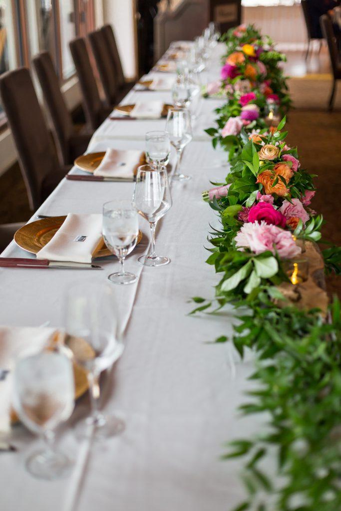 green and blush wedding decor