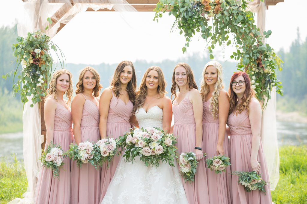 blush wedding party dresses