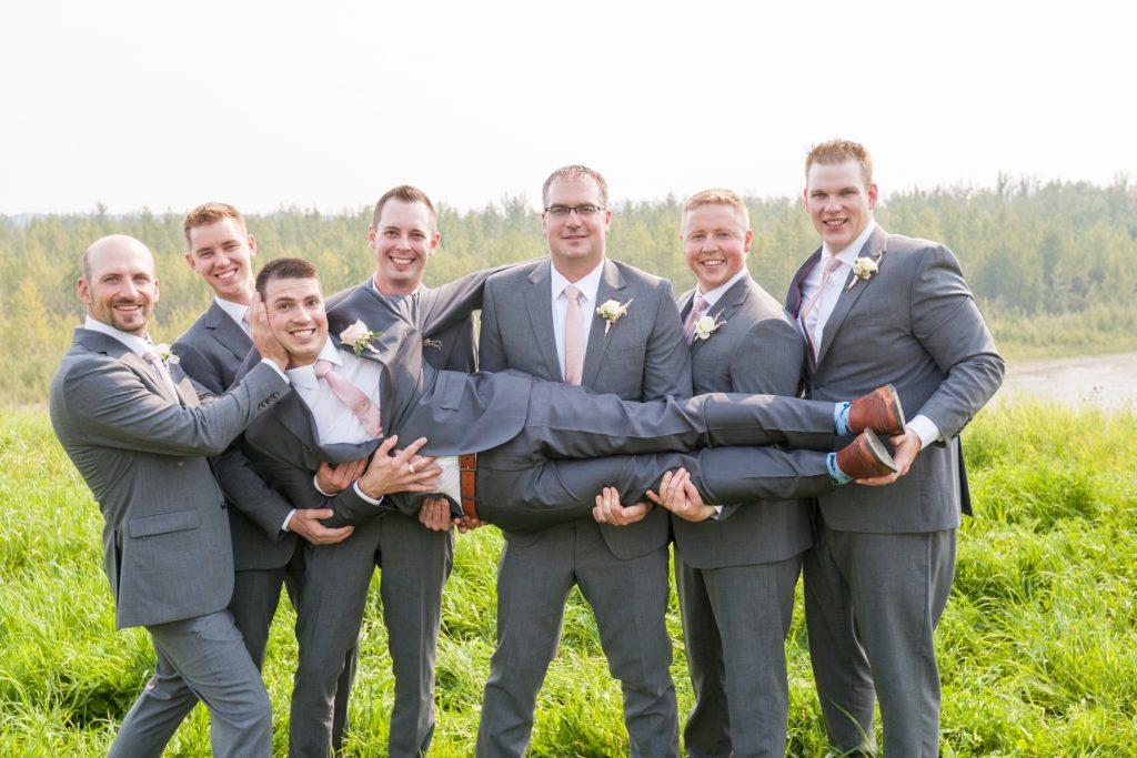 creative groomsmen photo