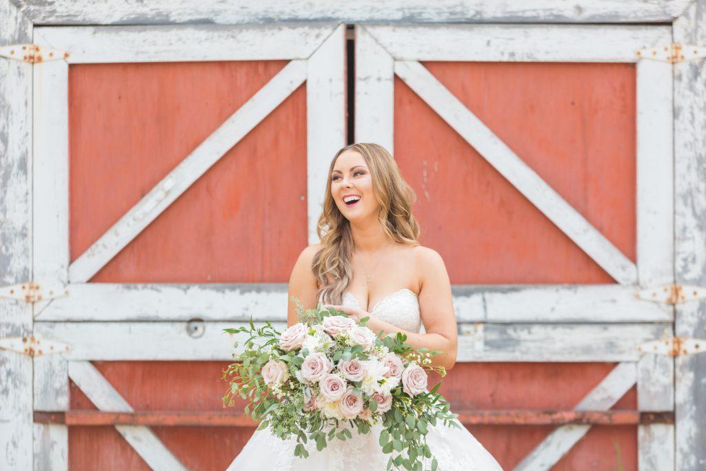 bridal portrait with barn