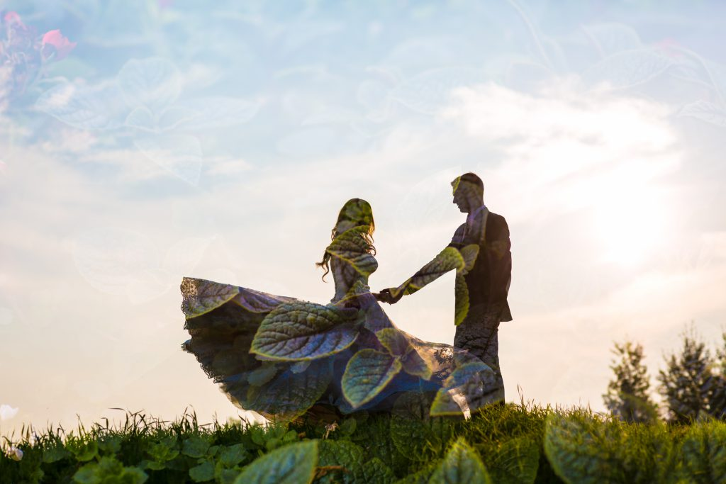 evening portraits with bride and groom