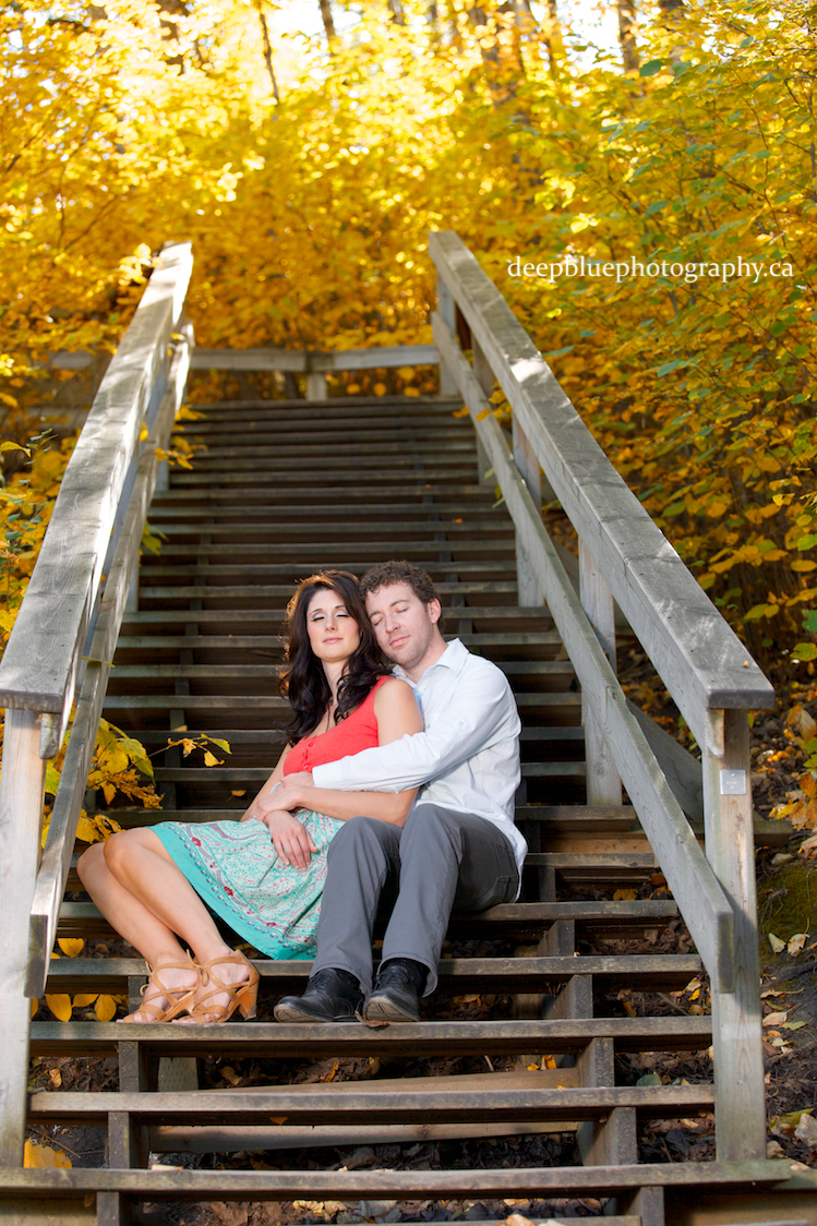 Photo of Couple in River Valley Stairs Edmonton Emily Murphy Park