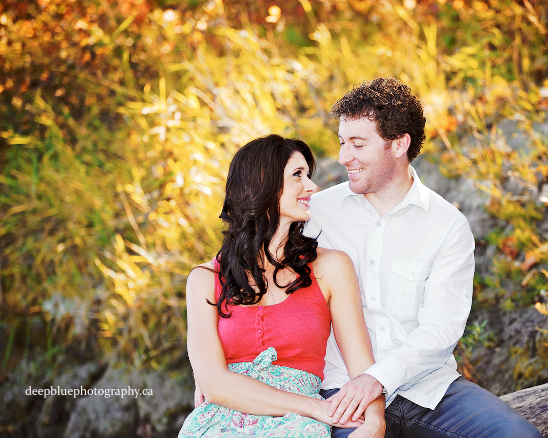 Gareth and Wendy Being Cute - Edmonton River Valley Engagement Pictures