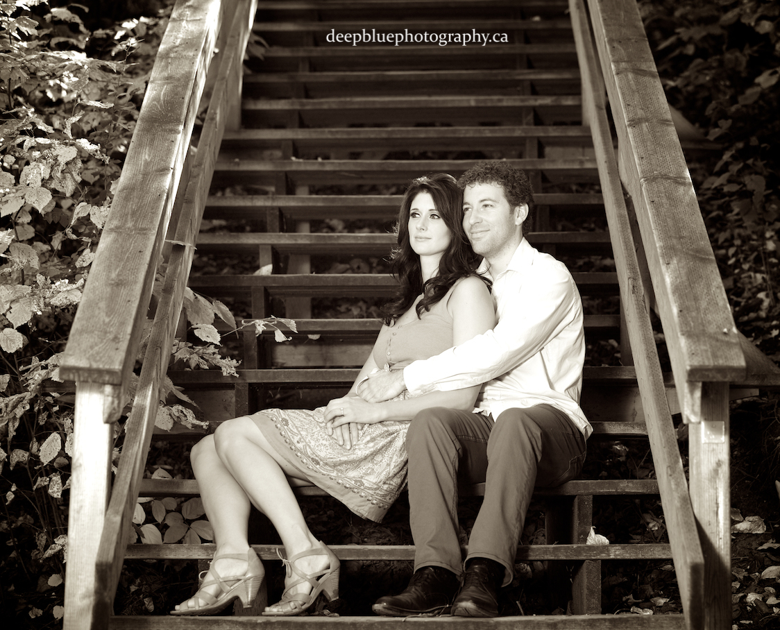 Gareth and Wendy Relaxing on the Stairs Emily Murphy Park Engagement Pictures