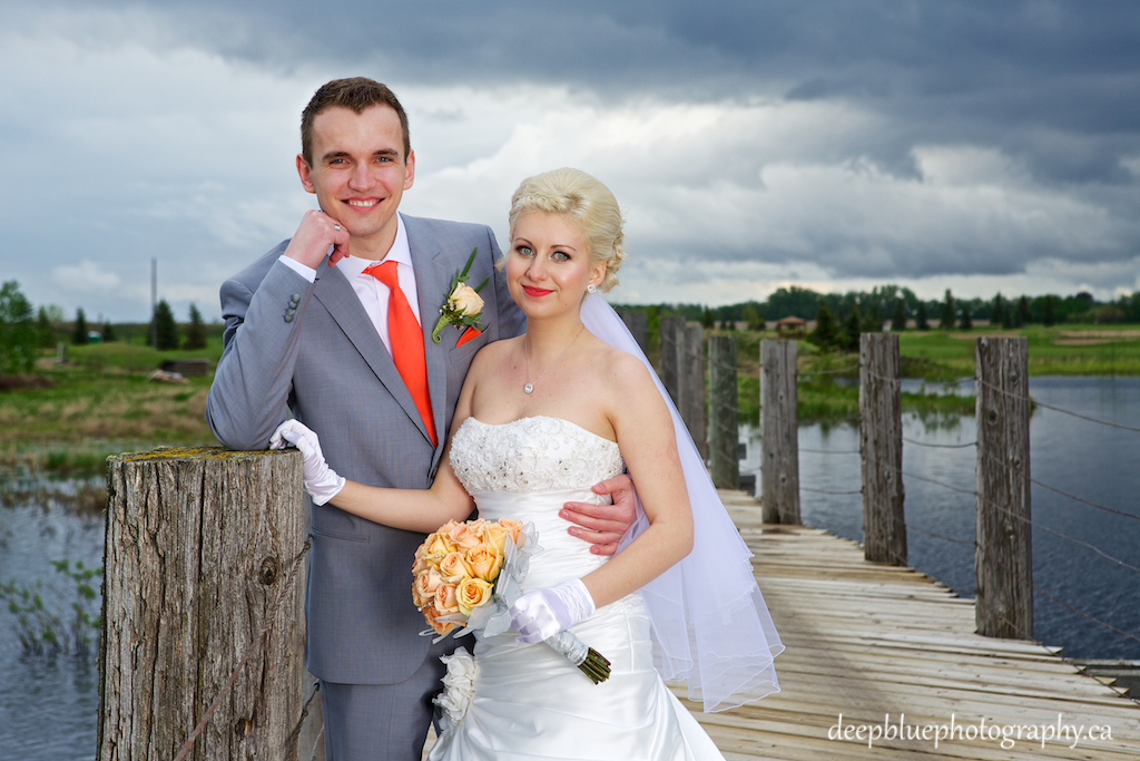 Viktoriya and Nick Pose on the Bridge at Hunters Green Golf Course
