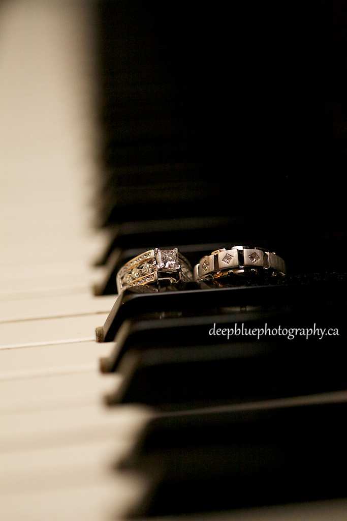 Bride and Groom Wedding Rings on Piano
