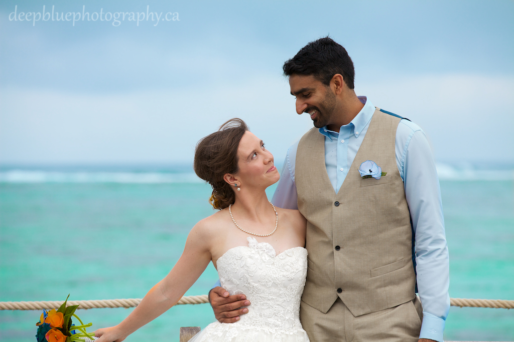 Bride and Groom Cute Destination Wedding Photo