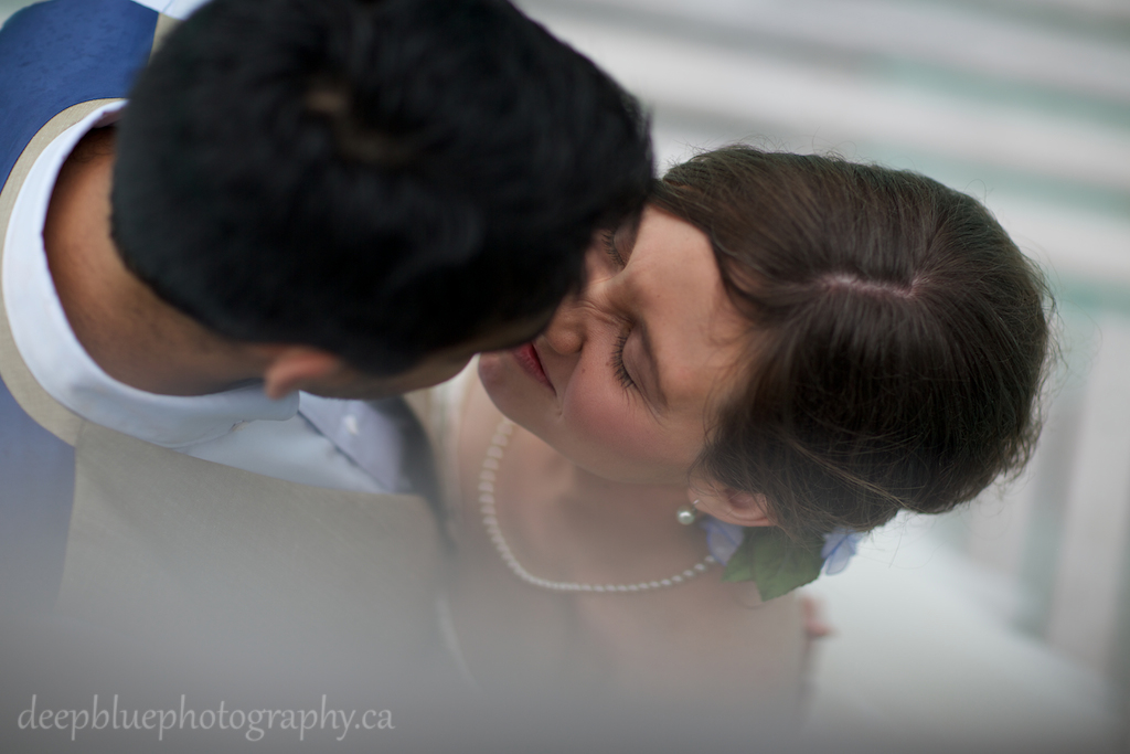 Bride and Groom Sharing a Kiss