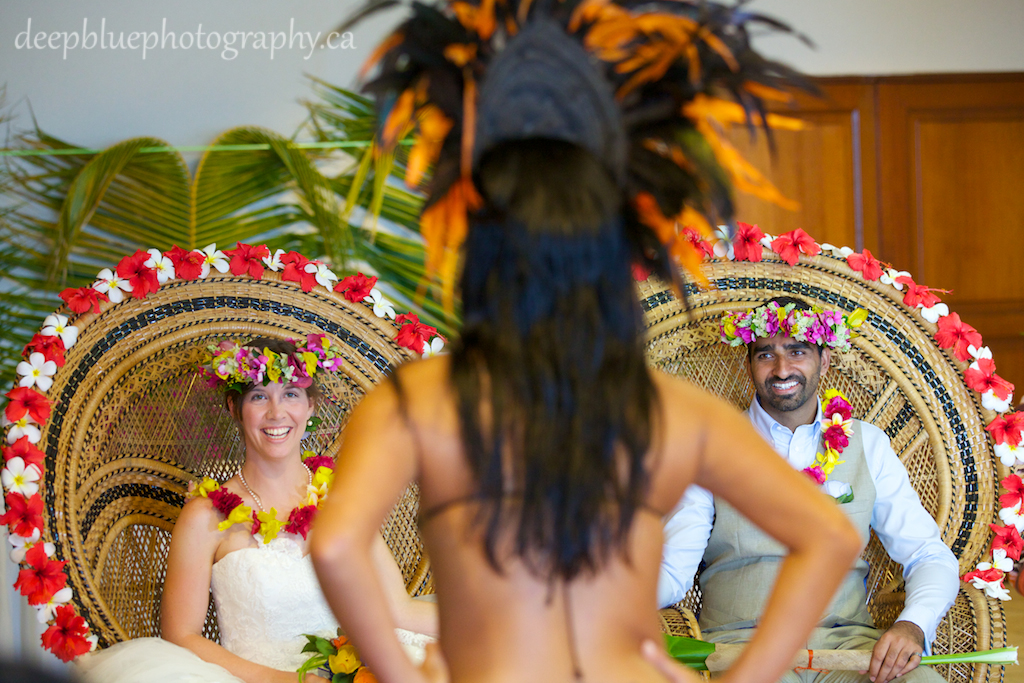 Destination Wedding Tahiti Bride and Groom Enjoying Tahitian Wedding Ceremony