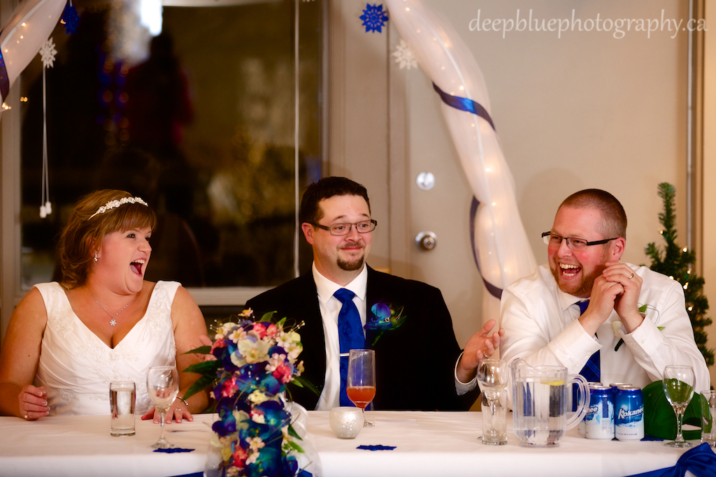Bride and Groom Laughing Reception