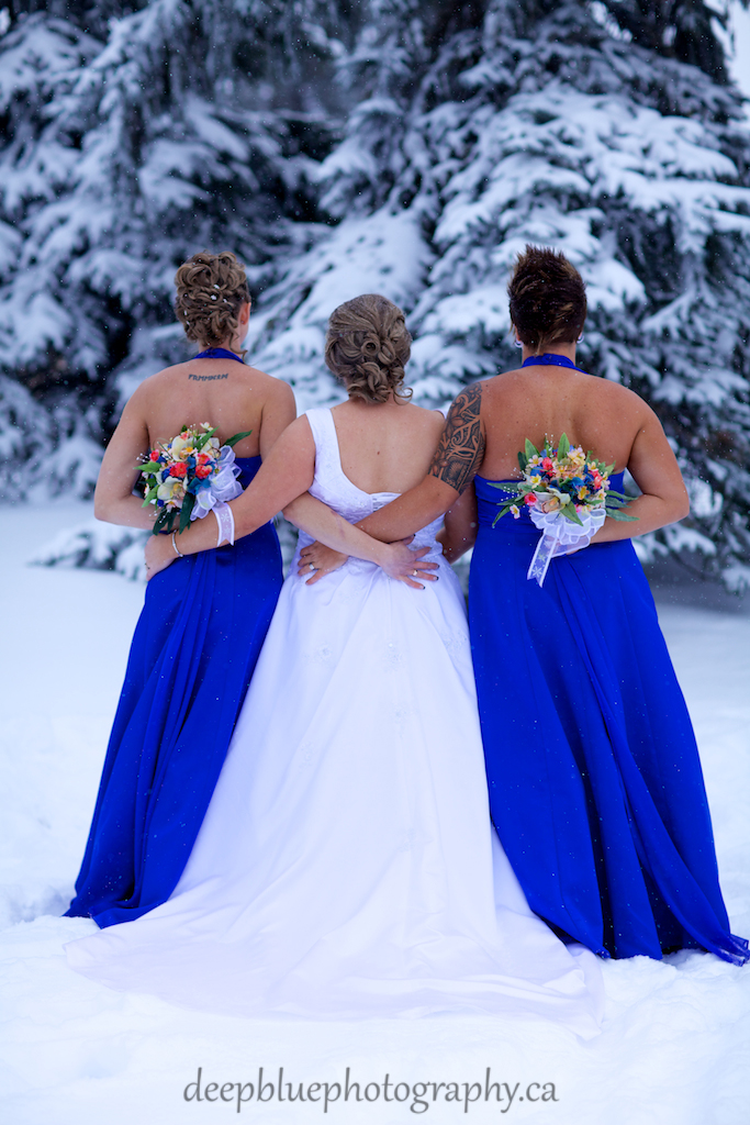 Winter Wedding Edmonton Bridesmaids Picture