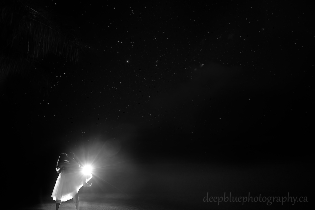 Night Kiss Photo While Standing in the Ocean