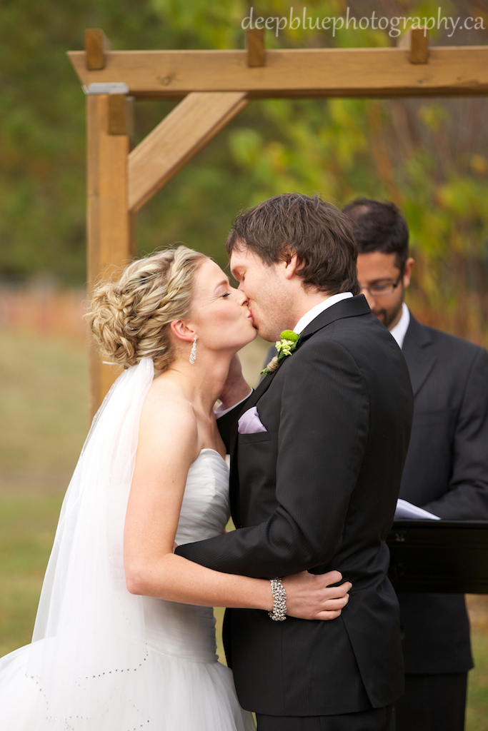 Snow Valley Edmonton Wedding Pictures Of Matthew and Christine Share First Kiss