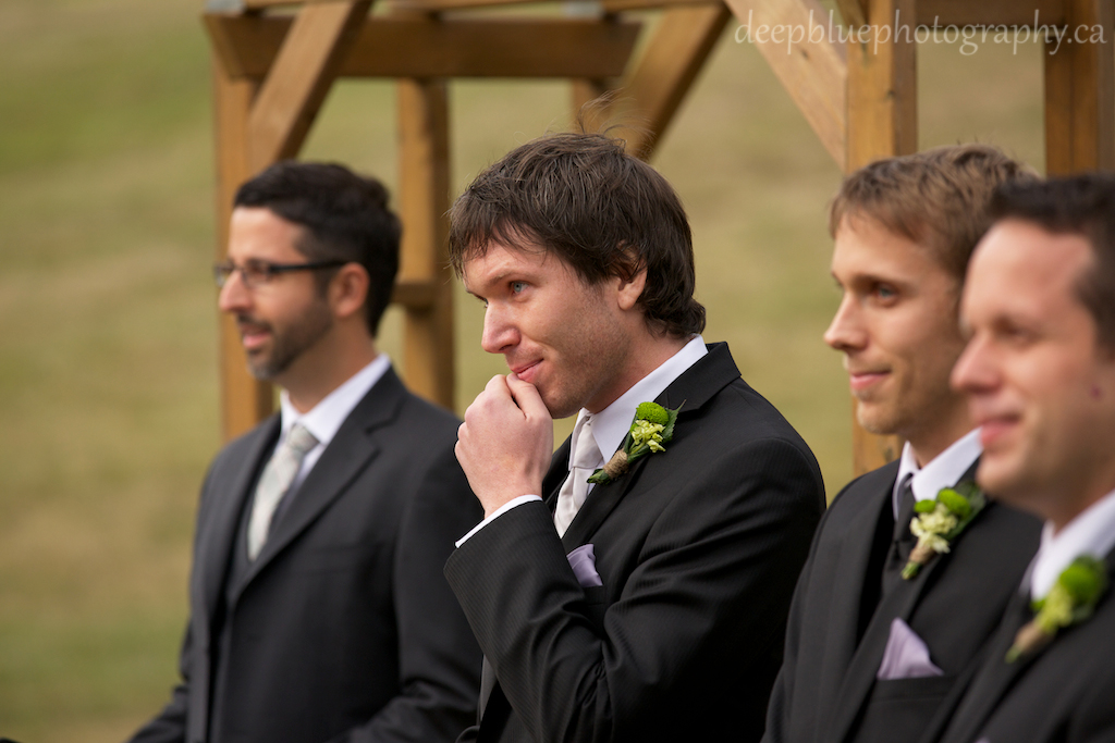 Groom Waiting at Alter for Bride At Their Snow Valley Edmonton Wedding Pictures