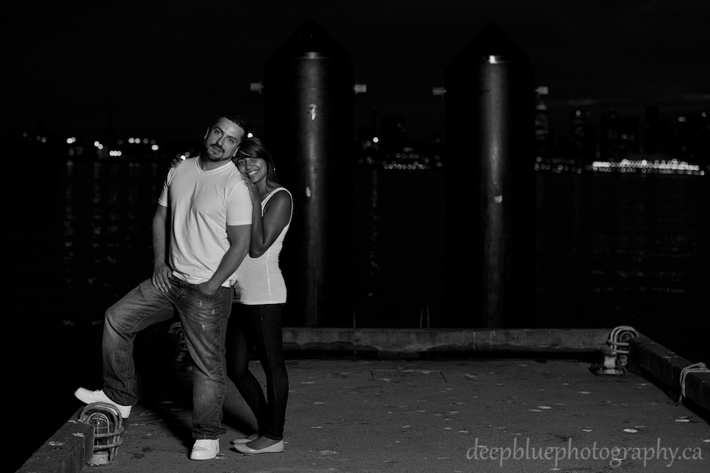 Romantic Night Engagement Photo Vancouver