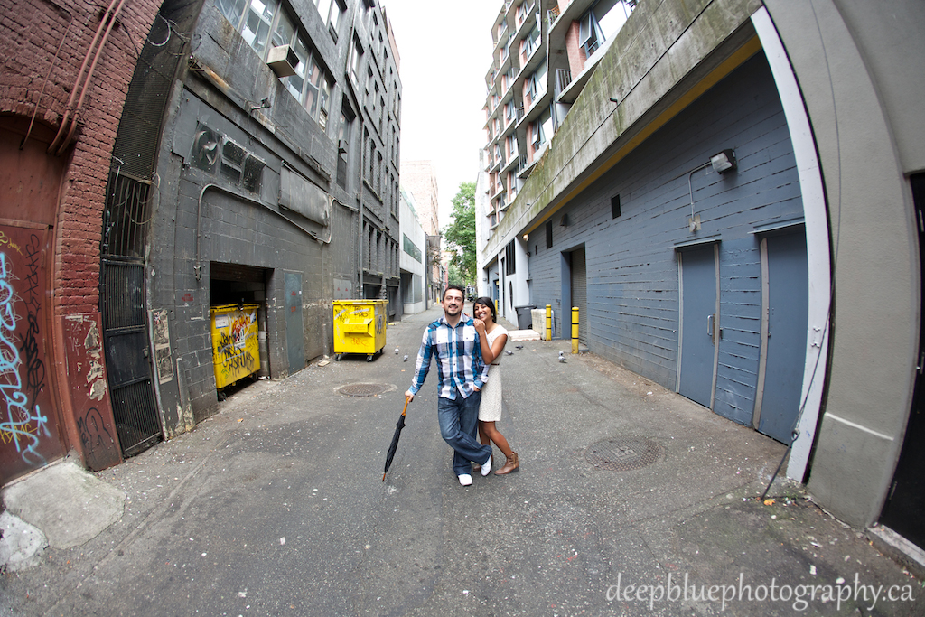 Wide Angle Fun Engagement Photo in Vancouver Alley