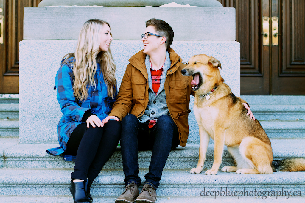 Couple Sitting on Legislature Steps with Dog