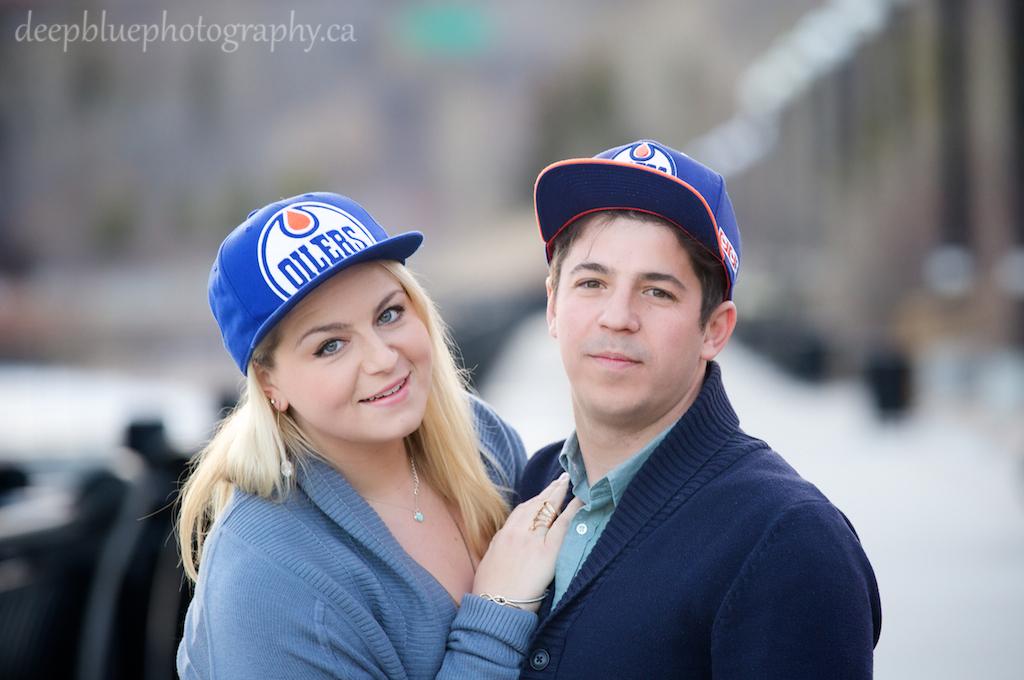 Megan and John in Oilers Hats