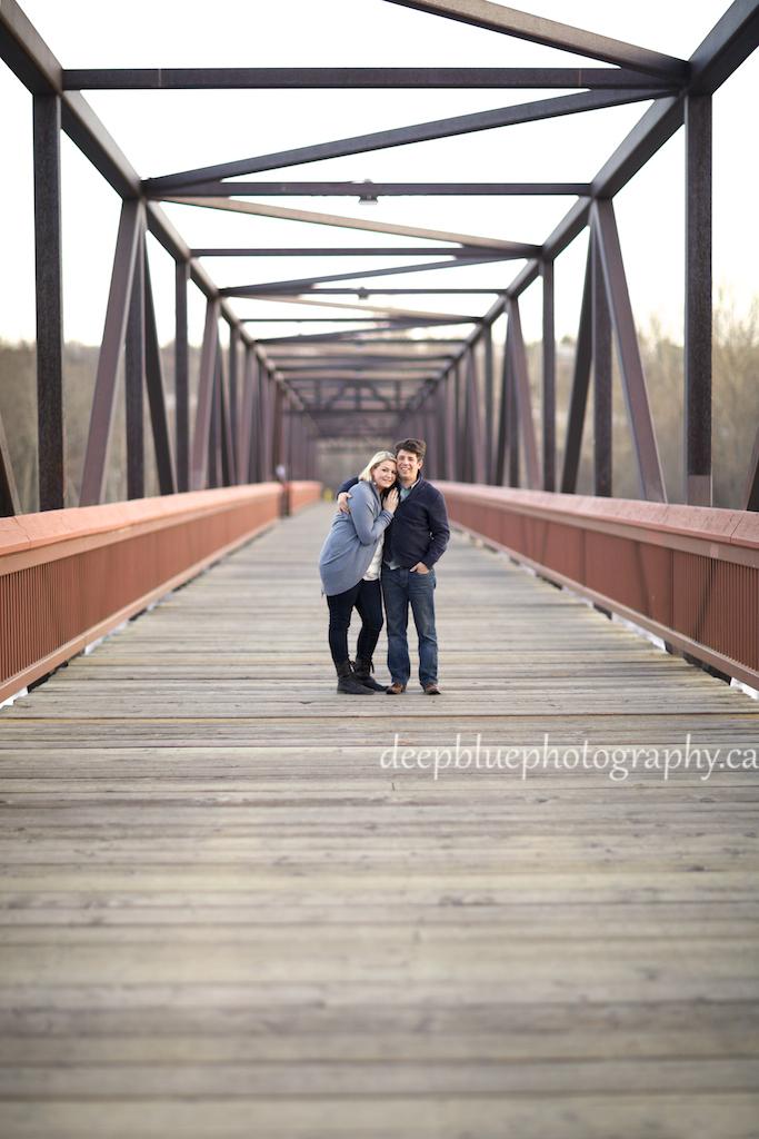 Megan and John Bridge Engagement Photo - Louise McKinney Park Engagement Photography