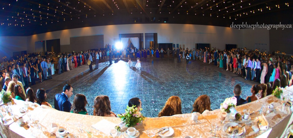 Bride and Groom Dancing with Guests at Reception - Edmonton Lebanese Wedding Photography