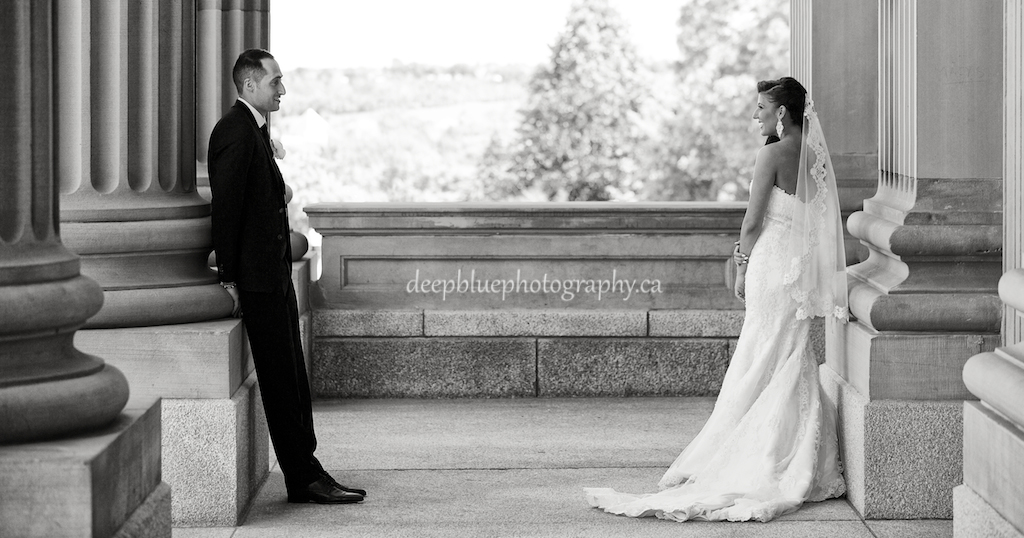 Photo of Bride and Groom on the steps of the Legislature
