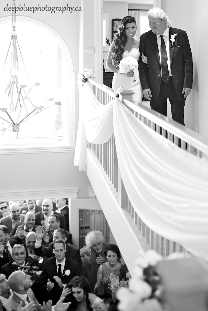 Photo of bride walking to meet groom for first look - Lebanese Wedding Photography