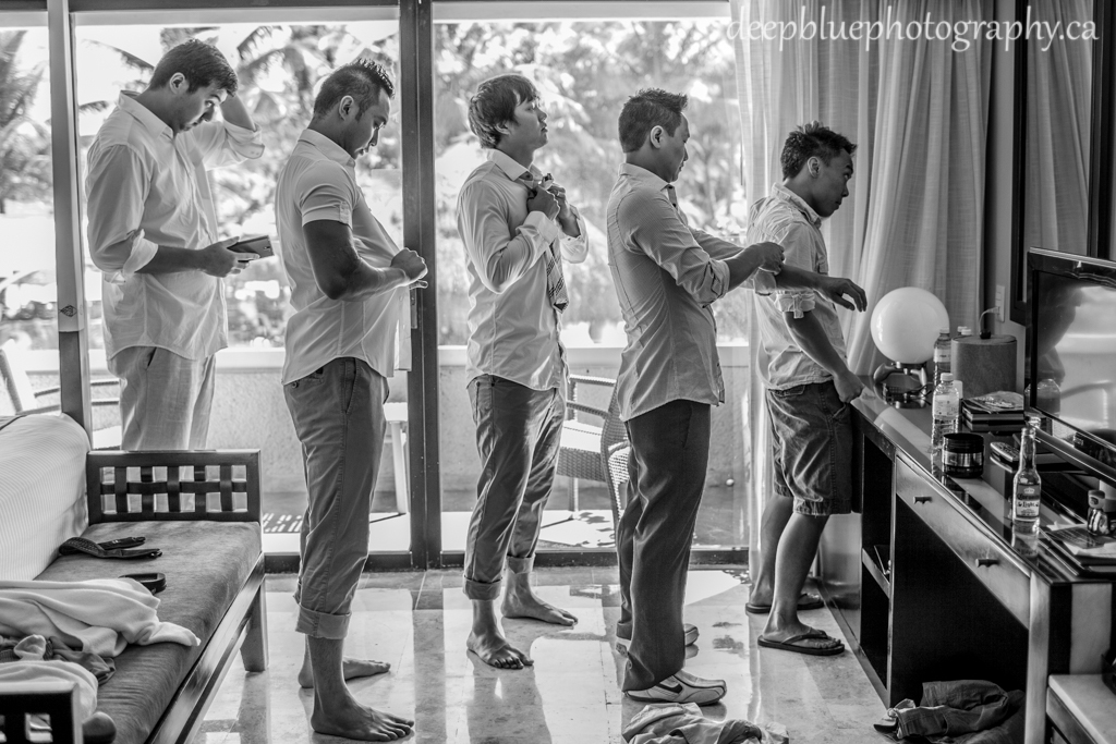 Groomsmen get ready for destination wedding mexico destination wedding photographers
