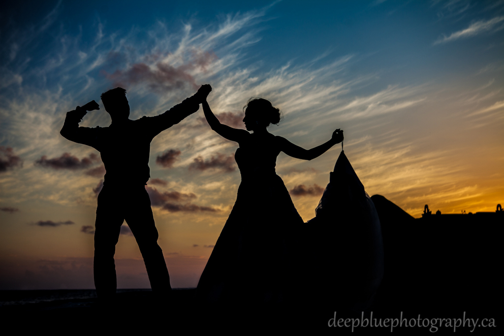 Sunset destination wedding portrait