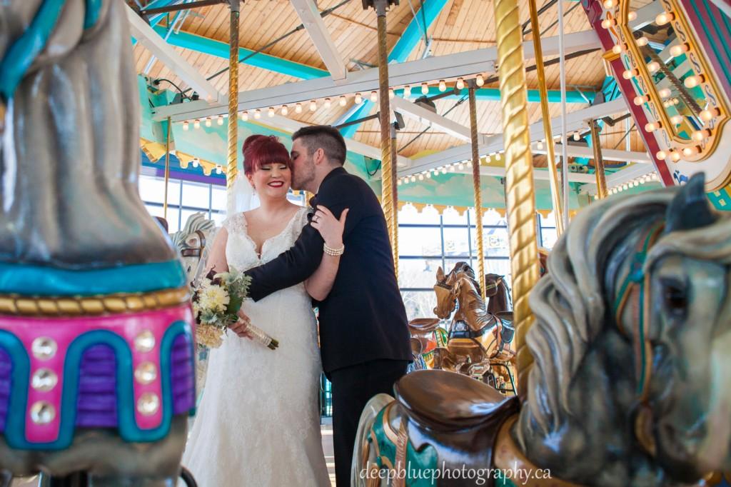 Wedding Portraits at Fort Edmonton Carousel
