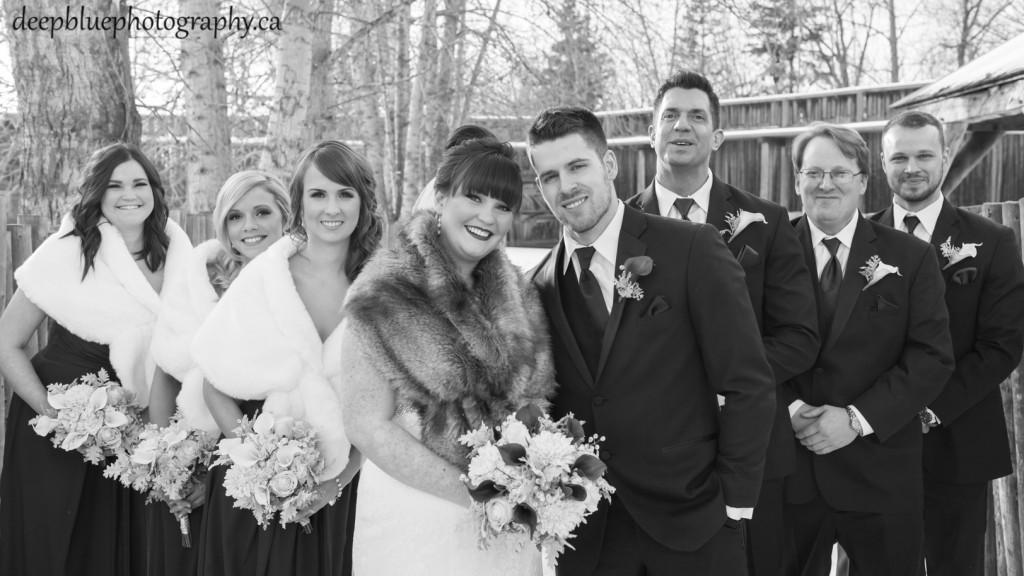 Outdoor winter wedding portraits Fort Edmonton Park - Fort Edmonton Park Winter Wedding