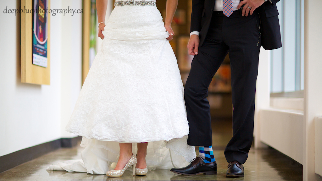 Photo of bride and groom shoes