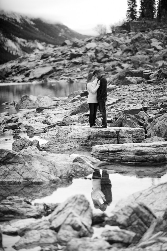 Engagement pictures in Jasper Medicine Lake - Jasper Engagement Photography