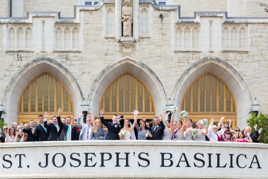 Group photo outside the St Joseph Basilica Wedding Edmonton