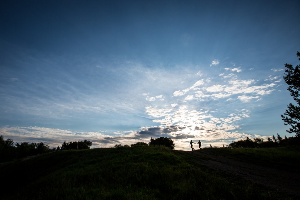 Silhouette Of A Couple During Their River Valley Engagement Photos