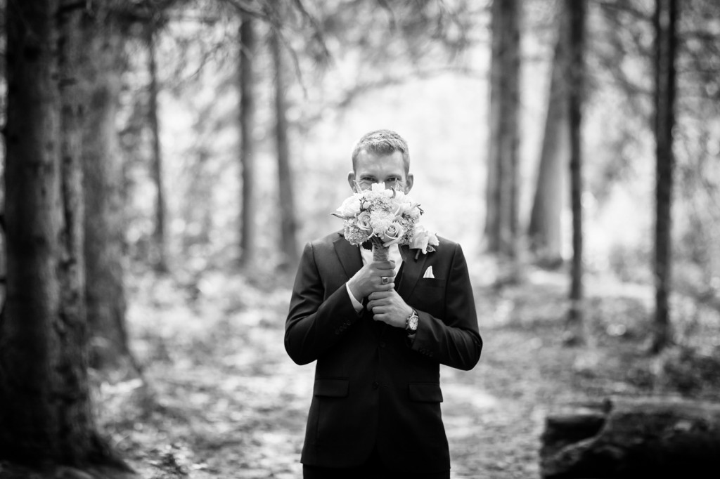 Photo of Groom with Bouquet