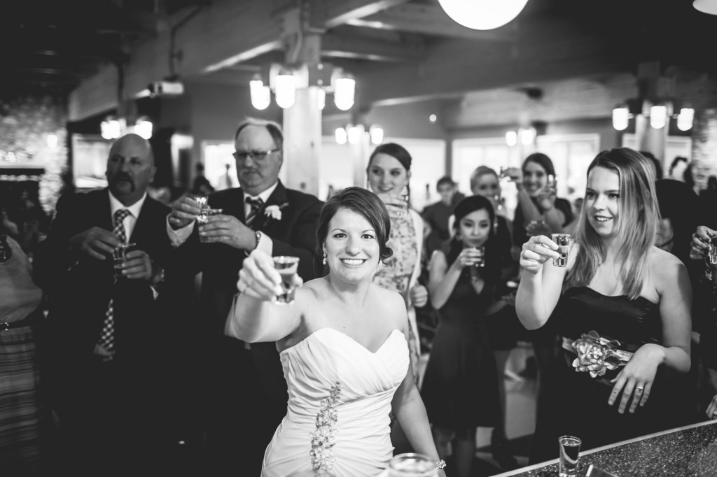 Bride Having a Shot